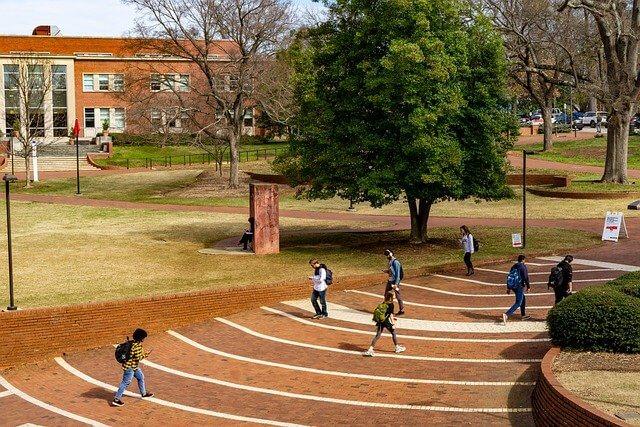 Berbicara dengan teman baru di universitas tentang rencana kuliah untuk semester ini